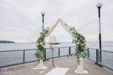 Flora Nova Design Seattle Wedding Ceremony Arch Greenery