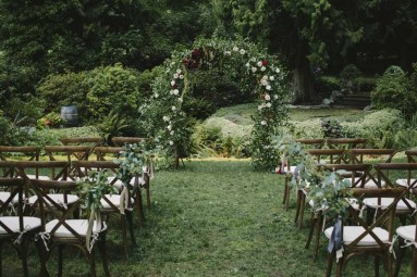 Flora Nova Design Seattle Outdoor Wedding Ceremony Greenery Arch