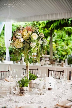 Flora Nova Design Seattle Wedding Reception Table Tall Floral Trailing Amaranthus