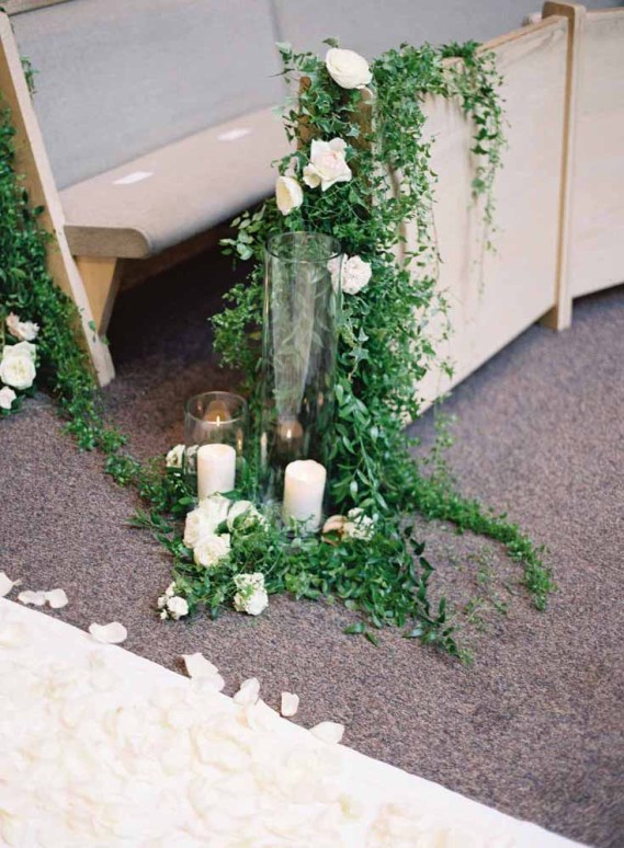 Flora Nova Design Seattle Aisle Pew Trailing Vines Greenery Candles