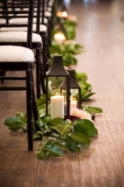Flora Nova Design Seattle Greenery Aisle Runner Candle Lanterns