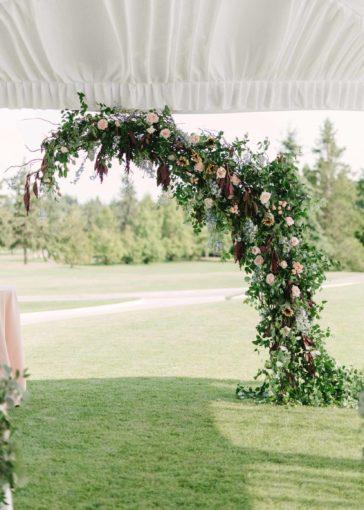 wedding arch, greenery vines, ceremony backdrop, Flora Nova Design