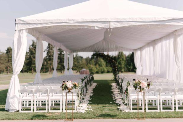 tent wedding, summer wedding, ceremony aisle