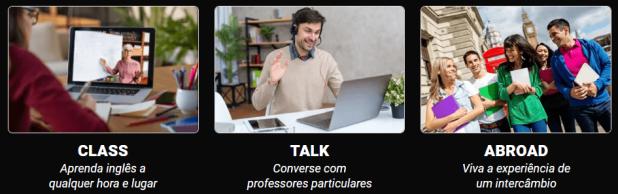 Ciclo completo da fluência: aulas, conversação, intercâmbio