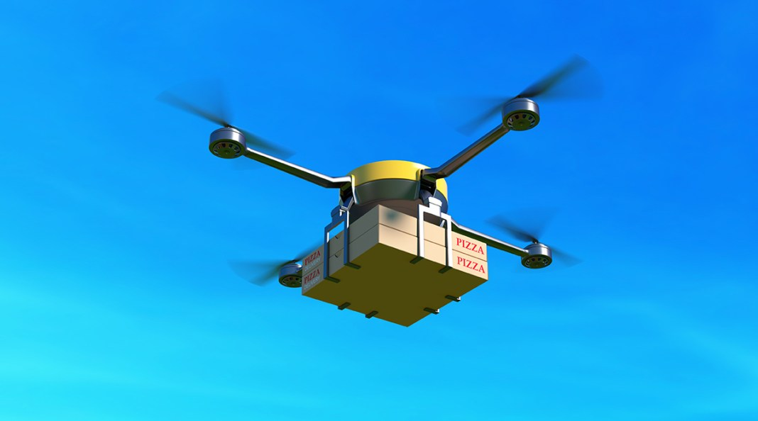 A delivery drone during trials