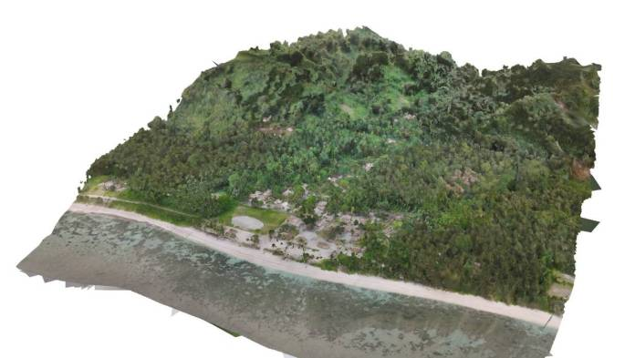 A shot of the 3D mapping Paul Short did to help map out a water system for the village.