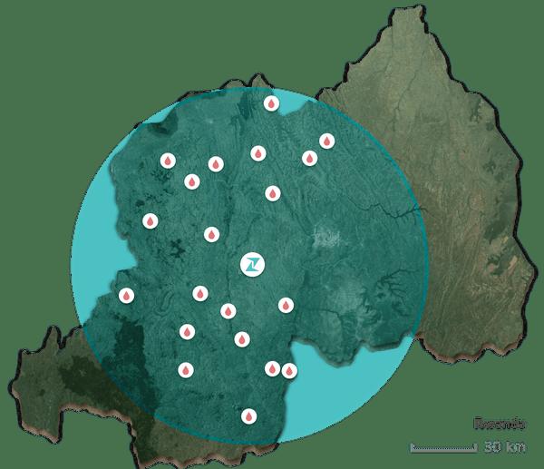 Zipline's reach in Rwanda