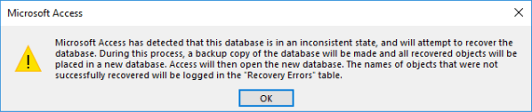 "'inconsistent state', Error 3343 ""unrecognized database format"