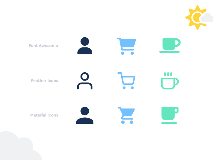 Examples of Font Awesome icons alongside their counterparts from other popular icon sets