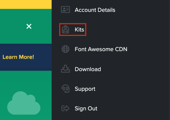 "Screenshot of using on Font Awesome's Account Details screen selecting ""Kits."""