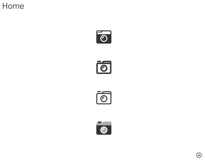 Screenshot of multiple styles of a camera icons.