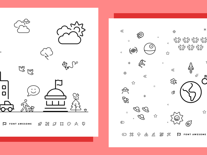 Font Awesome's space and small-town-based coloring sheets.