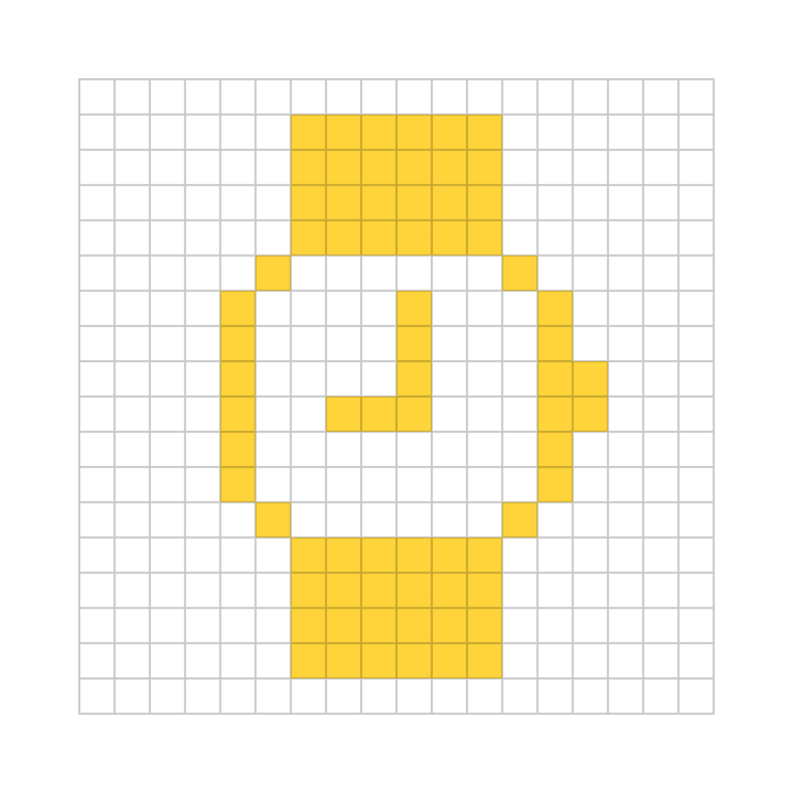 A watch icon by Susan Kare overlaid on an icon grid.