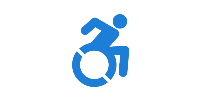 Image of the updated accessibility icon showing the figure in the wheelchair in forward motion.