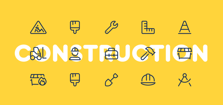 Multiple examples of construction icons like paint brush, wrench, hammer, etc.