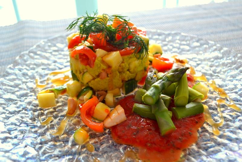 Tartare di verdure con asparagi verdi