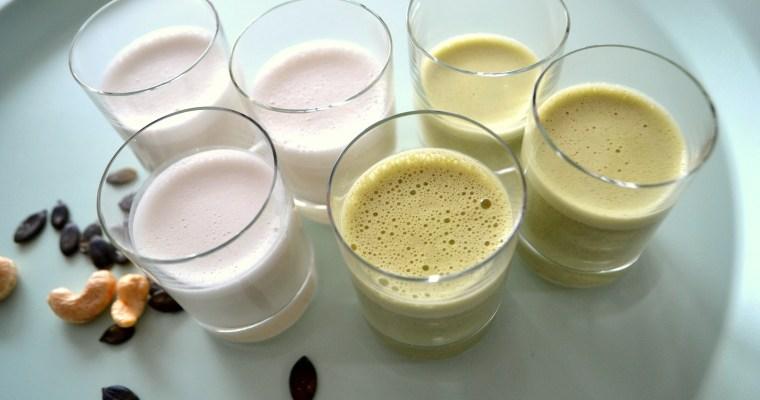 Latte di anacardi e latte di semi di zucca