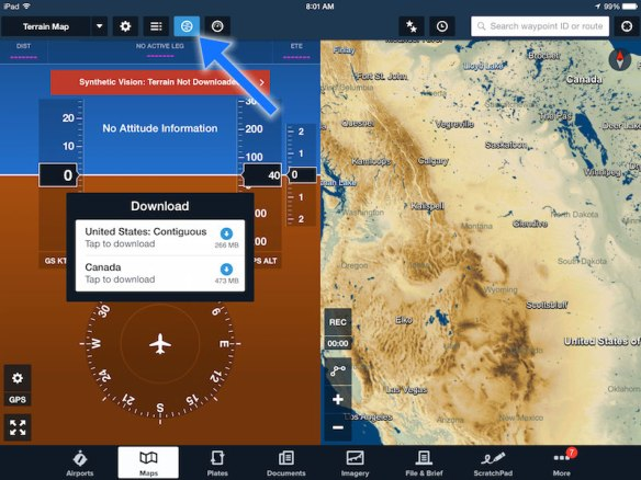 Access Synthetic Vision in the Maps view