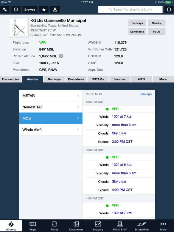 You can also view the MOS forecast in the Airports view by tapping on the Weather tab.