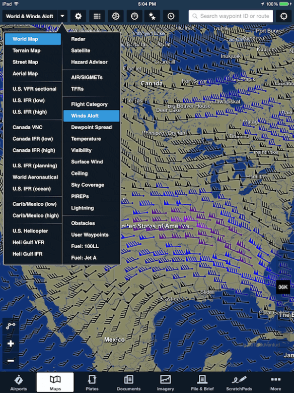 Global graphical Winds Aloft map layer.
