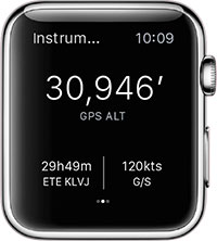 ForeFlight for Apple Watch Instruments view.