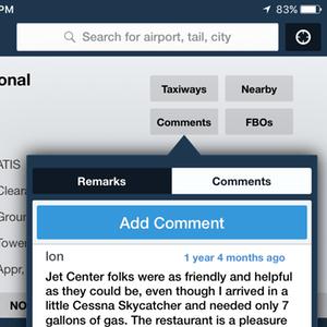 Airport Comments button
