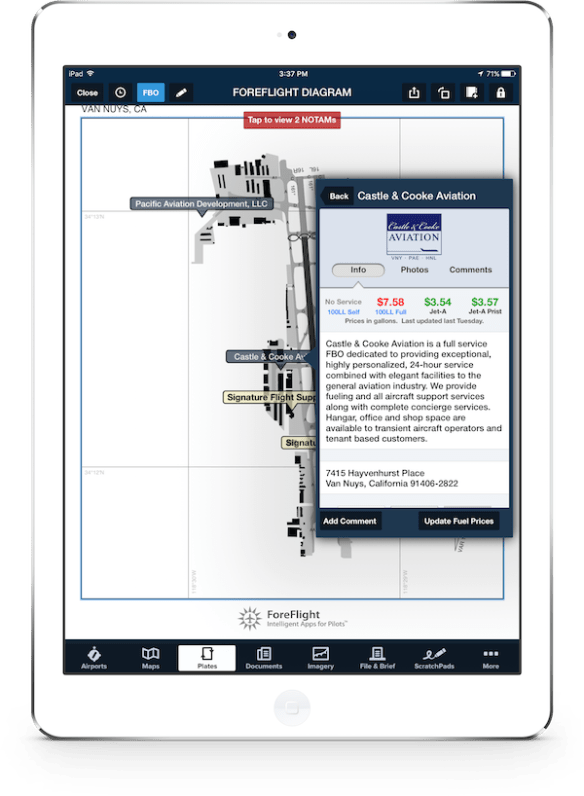 ForeFlight FBOs on Taxi Charts