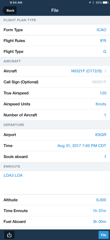 ForeFlight makes it easy to enter your flight plan information by translating it into the proper format