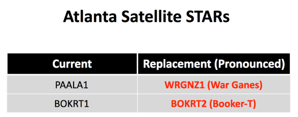 The new Atlanta satellite STARs became active on October 12.