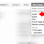 Import your contacts to the new account
