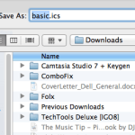 "Save the ""basic.ics"" file"