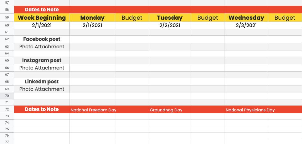 social media calendar with excel