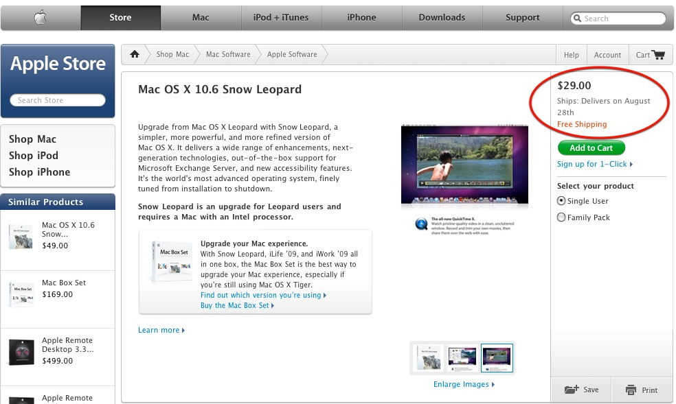 If you have an imac, macbook, macbook pro, or mac mini model that was originally released in early/mid 2006, the latest version of mac os x your system supports is snow leopard. Mac Os X 10 6 Snow Leopard In Our Hands August 28 Stephen Foskett Pack Rat