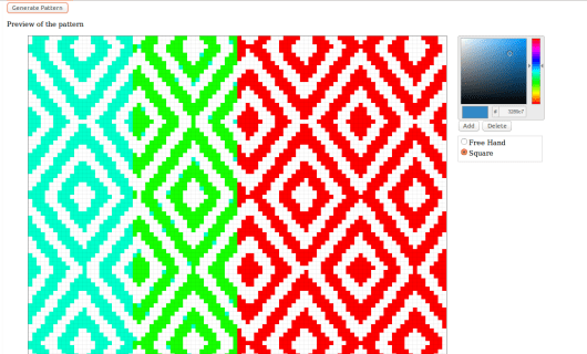 Loaded pattern in pixelated grid