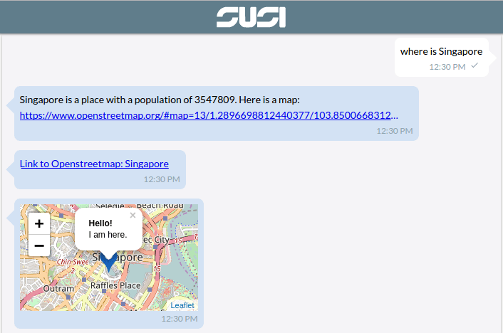 Map Support for SUSI Webchat