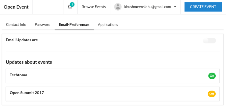 Implementing Email Preferences in Open Event Front-end