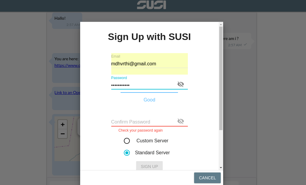 Detecting password strength in SUSI.AI Web Chat SignUp