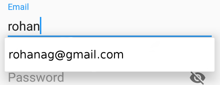 Create an AutocompleteTextView dropdown for the email input in the Open Event Orga Android App