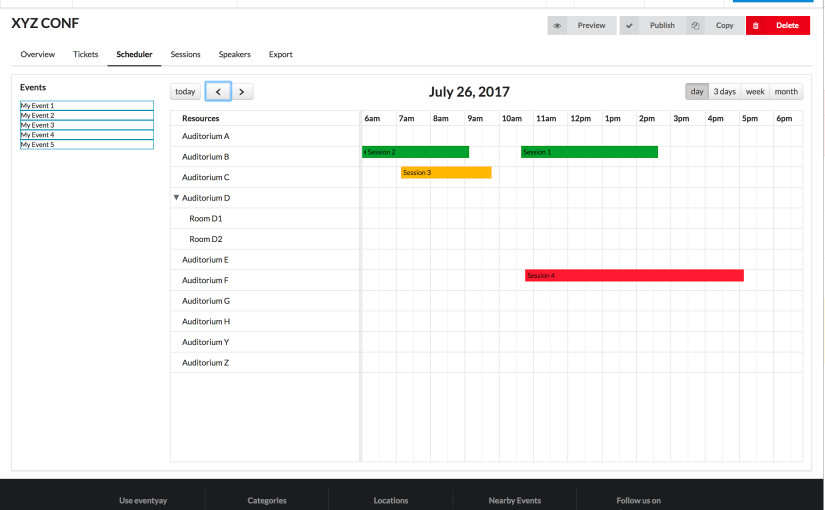 Implementing the UI of the Scheduler in Open Event Frontend with Sub Rooms and External Events