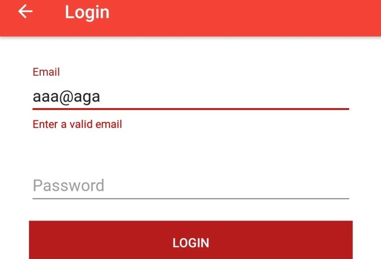 Email and Password Validation in Open Event Android