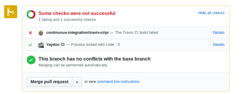 Showing Pull Request Build Status in Yaydoc
