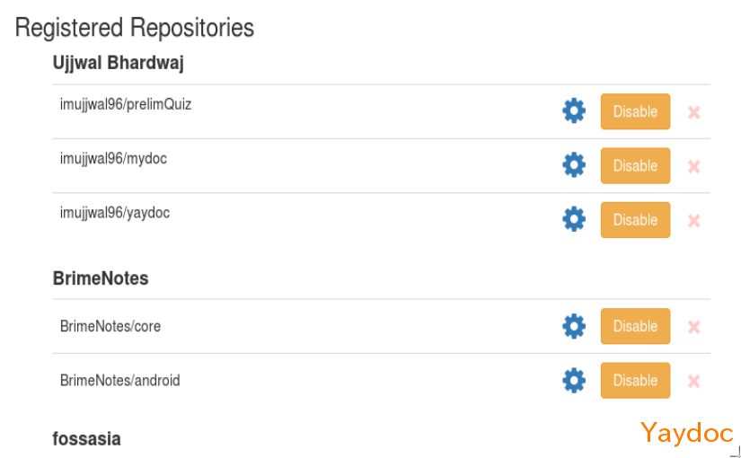 Display a List of Registered Repositories in User's Dashboard