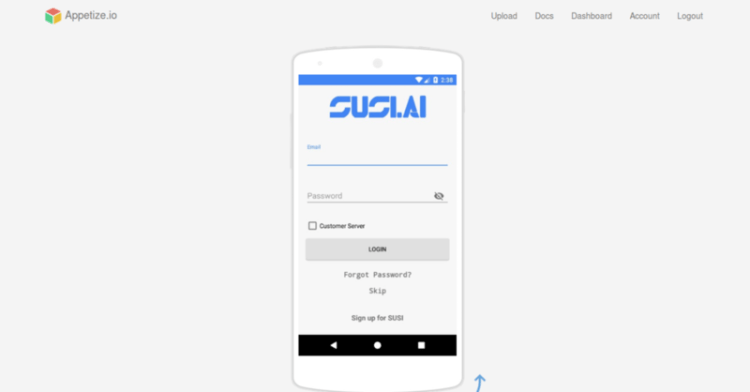 Auto Updating SUSI Android APK and App Preview on appetize.io