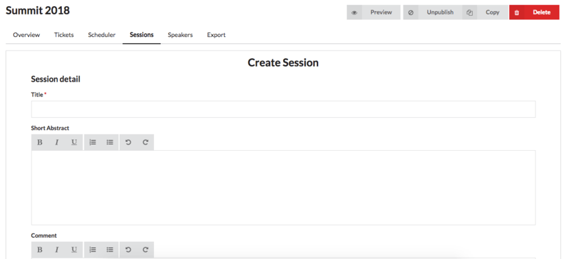 Implementing Session and Speaker Creation From Event Panel In Open Event Frontend
