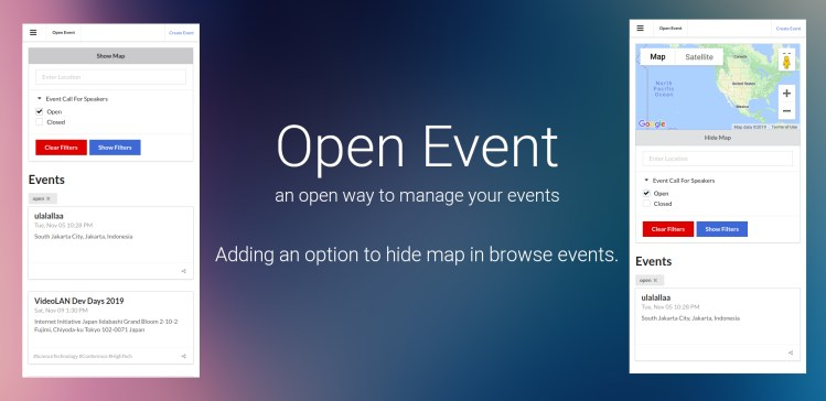 Adding an option to hide map in browse events.