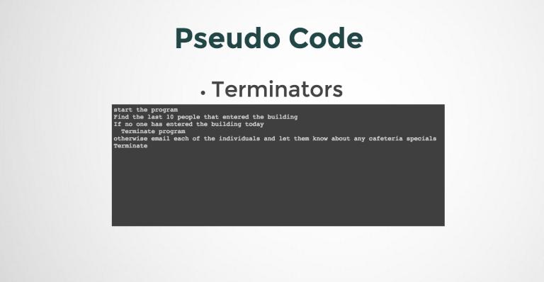 Represent Terminators in Pseudo Code