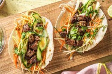 Wrap à la coréenne, wrap au boeuf, recette facile wrap, wrap viande et légume, wrap boeuf concombre et carotte