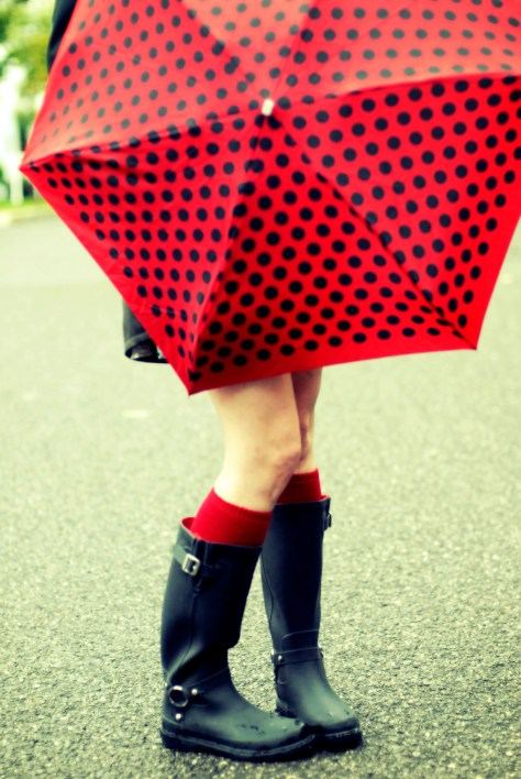 umbrella and rainboots
