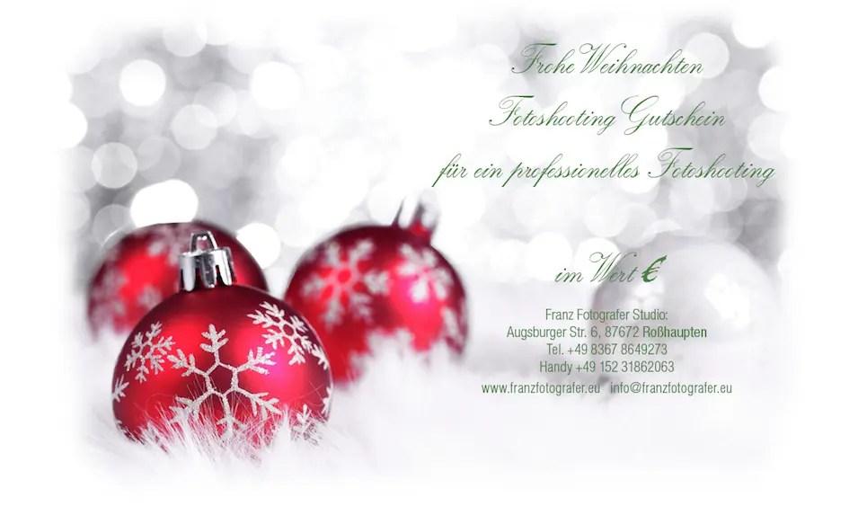 Franz Fotografer Studio Weihnachten Fotoshooting Gutschein
