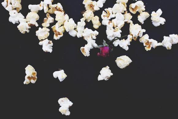 Popcorn on black